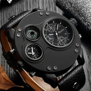 Oulm 新ファッションカジュアルスポーツメンズ腕時計ブラックレザーデュアルタイムゾーン腕時計男性クォーツビッグサイズの高級軍事時計