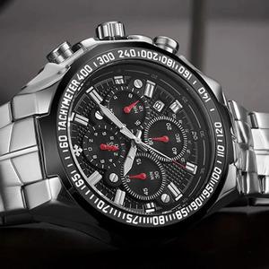 スポーツは、男性のファッションクォーツ男性大時計wwoorトップブランドの高級ミリタリー正社員スチール防水クロノグラフ腕時計