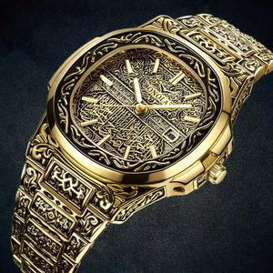 ファッションクォーツ腕時計メンズブランドonola高級レトロゴールデンステンレス鋼腕時計メンズゴールドメンズ腕時計リロイのやつ