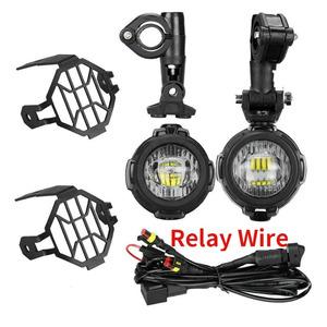オートバイledフォグランプ & 保護ガード/配線ハーネスbmw R1200 gs advバイクヘッドライトledライト白 6000 18k