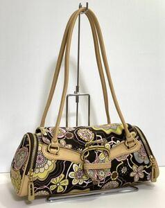 コールハーン COLE HAAN レディースハンドバッグ ミニボストンバッグ バッグ 花柄×ベージュ 布×レザー 横約31×縦約11×マチ約12cm