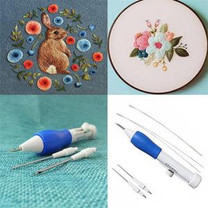 ◆1円スタート◆ 魔法の刺繍ペン DIY工芸品 魔法の刺繍ペンセット 3交換可能なパンチ針 ミシンアクセサリー