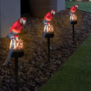 ◆1円スタート◆オウムレッド ソーラー ガーデンライト 屋外 防水 Led 妖精ライト 芝生 ランプ 庭 装飾風景夜 動物形状ランプ