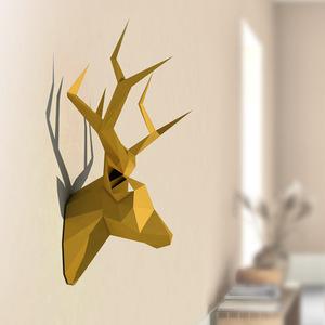 ★1円スタート★鹿の頭のはく製風ペーパーモデル おもちゃ 家の装飾 リビングルームの装飾 DIY ペーパークラフトモデル