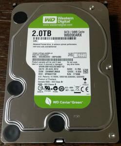 【良品】Western Digital Green 3.5型HDD WD20EARX :2TB×1台【CrystalDiskInfo正常】