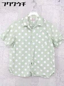 ◇ BEAMS BOY ビームス ボーイ ドット 水玉 半袖 シャツ ライトグリーン系 レディース
