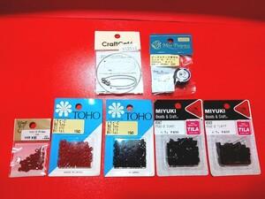 ◆新品未使用  手作り 7種 セット ビーズ 赤&黒  ブレスレット プレゼント ハンドメイド  アクセサリー 手芸 手作り