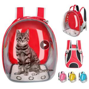 Mp3488:猫のキャリアバッグ 通気性のある透明なバックパック ボックスケージ 小型犬 ペット 旅行 キャリアハンドバッグ スペースカプセル