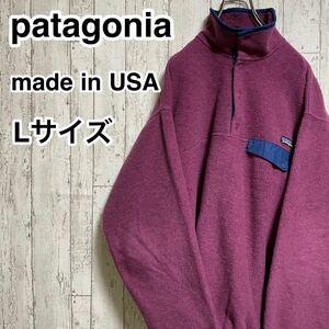 【希少カラー】patagonia パタゴニア スナップT フリースジャケット Lサイズ あずき色 S6 96年製 アメリカ製 USA製