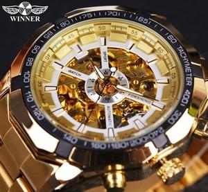 【送料無料】腕時計 海外ブランド メンズ 高級 機械自動巻き スポーツ ゴールド フルスチール スケルトン ホワイトダイヤル【領収発行可】