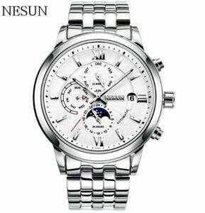 【送料無料】NESUN 自動巻き 機械式腕時計 メンズ サファイアクリスタル ルミナスハンズ ステンレス(ホワイトスチール)【領収書発行可】