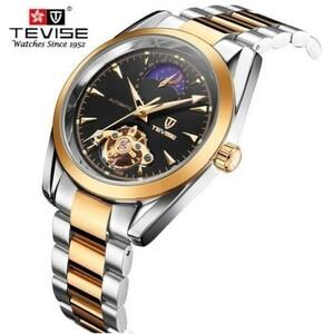 【送料無料】レロジオmasculino tevise高級ブランド腕時計男性トゥールビヨン自動機械式時計ムーンフェイズスケルトン腕時計【領収発行可】