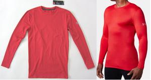 アンダーアーマー新品!コンプレッション クルーシャツ LG 赤 送料無料 コールドギア