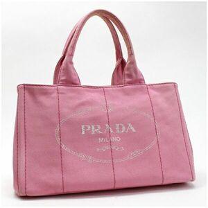 プラダ カナパ トートバッグ ハンドバッグ キャンバス ピンク 中古 ABランク PRADA| レディース 女性用 三角プレート 保存袋