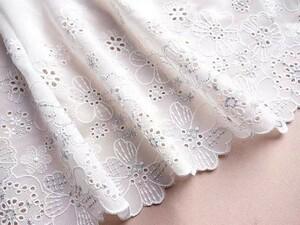チュールレース レース生地 ホワイト 銀糸刺繍