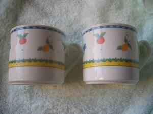 ARITA マグカップ 2個セット フルーツ・花柄 レトロ