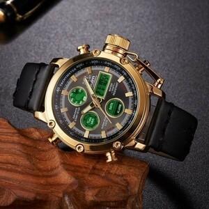 2019 Oulm ビッグサイズ軍事デュアルタイムデジタル腕時計メンズカレンダーアラーム多機能防水メンズ腕時計トップブランド高級