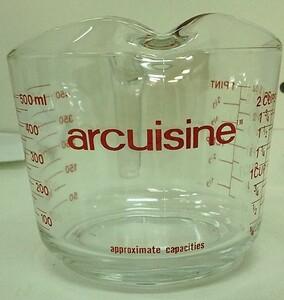 □ arcuisine ガラス製 計量カップ 500ml 中古品
