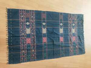 ミャンマー テキスタイル ハンドメイド 100%コットン 織物 布 トライバルタペストリー 敷布 カバー 民族 エスニックファブリック