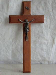 フランスアンティーク 十字架 クロス ウォール 壁掛け キリスト 教会 装飾 インテリア フレンチ 蚤の市 ブロカント 木製 0876