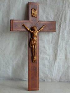 フランスアンティーク 十字架 クロス ウォール 壁掛け キリスト 教会 装飾 インテリア フレンチ 蚤の市 ブロカント 木製 0864