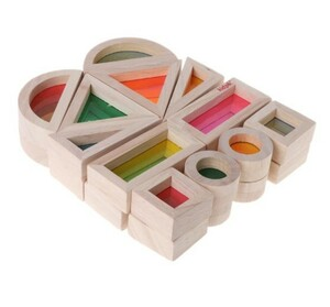A0112 : ★人気商品★ モンテッソーリ レインボー アクリル 教具 木製 ビルディング ブロック 幼児 教育 玩具 キッズ おもちゃ 積み木
