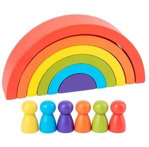 A0103 : ★大人気★ モンテッソーリ 教具 虹色 カラー積み木 教育 レインボー アーチ 知育玩具 ブロック ビルディング キッズ