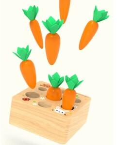 A0115 : ★人気商品★モンテッソーリ 教具 木製 人参 型はめ 子供 収穫 ニンジン 玩具 おもちゃ 釣り 教育 パズル 子供 ままごと