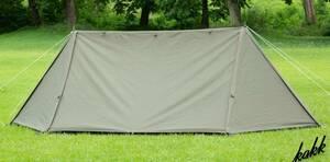【軍幕風テント】 BUNDOK ソロベース TC素材テント フルクローズ可能 収納ケース付き バンドック ツーリング キャンプ カーキ