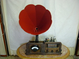 アンティーク & アート !! 外装自作 整備済み 完動品 「大型木製ラッパ&大型DBメーター」 付き 真空管 7球スーパーラジオ