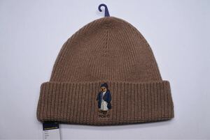 ラルフローレン ニット帽 キャメル 茶色 ブラウン ベアー 熊 未使用 メンズ 完売品 正規品