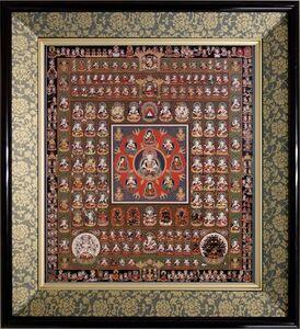 仏画 色紙額「胎蔵界曼荼羅」複製画 紺色緞子 仏間に。仏事の飾りに。佛画 マンダラ 大悲胎蔵曼荼羅 密教 大日経 仏教美術【84001】