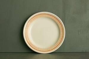 [7512] イギリス製 リム プレート 1枚 STEELITE アイボリー地 幾何学 模様 英国 皿 スイーツ デザート カフェ 備品 複数在庫あり
