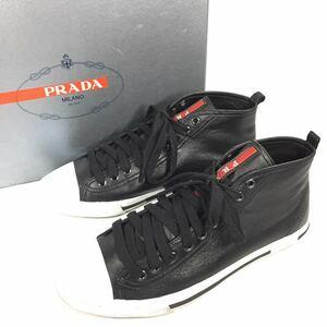 【プラダ】本物 PRADA 靴 25cm 黒 ハイカットシューズ ショートブーツ スニーカー カジュアルシューズ 本革 レザー 男性用 メンズ 7 箱有