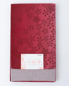 【半幅帯】リバーシブル ぼかし 浴衣帯 小袋帯 袴下帯 四寸帯(ワイン×グレー)小桜 送料込