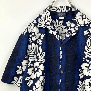 【美品】ハワイ製 ROYAL CREATIONS ロイヤル クリエーションズ 半袖アロハシャツ Sサイズ 南国 ブルー ハイビスカス
