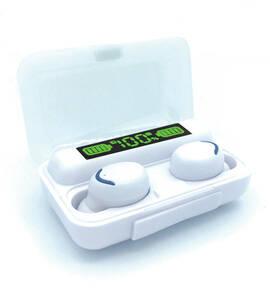ワイヤレス イヤホン 白 防水 HiFiステレオ ハンズフリー ヘッドセット モバイルバッテリー イヤフォン LEDディスプレイ