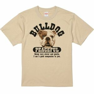 優しいブルドッグ/半袖Tシャツ/メンズS/濃ベージュ・新品・メール便 送料無料
