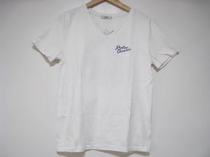 RODEO CROWNS ロデオクラウンズ トップス Tシャツ カットソー 半袖 Vネック 白 ホワイト Mサイズ 胸ロゴ 背面プリント スカル