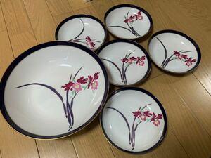 香蘭社 大皿1枚&小皿5枚 セット 和食器 花柄 金縁