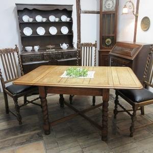 イギリス アンティーク 家具 ダイニングテーブル バタフライ ツイストレッグ 木製 オーク 英国 TABLE 6669b