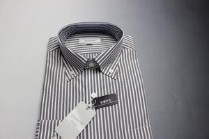 ¥9790/新品ダーバンD'URBAN 綿100%/形態安定/ボタンダウン/ロンドンストライプ長袖ドレスシャツ 38-84 グレー/3708421517(2D533