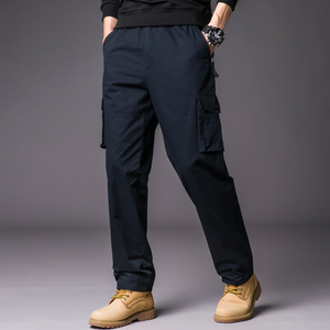 ワークパンツ カーゴパンツ メンズ ロングパンツ ズボン 作業着 ネイビー XL