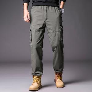ワークパンツ カーゴパンツ メンズ ロングパンツ ズボン 作業着 グリーン L
