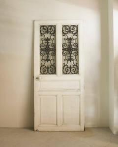 jf01706. country * France antique * fittings iron glass door French antique door wooden door paint door iron panel glass window attaching