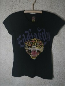 n4041 ED Hardy Christian Audigier エドハーディー アメリカ製 USA 虎 タイガー プリント タトゥー 半袖 tシャツ