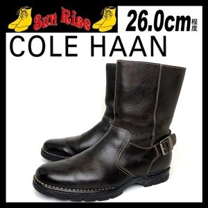即決 COLE HAAN コールハーン メンズ 8.5M 26cm程度 本革 レザー ブーツ プレーントゥ サイドジップ 濃茶 カジュアル ドレス 革靴 中古