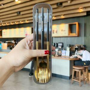 【スターバックス台湾】三点セット 日本未発売 スプーン 箸 フォーク ブラック
