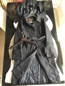 即決 フランス製 ルイヴィトン LOUIS VUITTON 最高峰 カシミヤ素材 フード、ベルト付 ガウンロングコート☆38サイズ ブラック