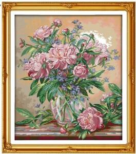 クロスステッチキット 芍薬と花瓶 シャクヤク 14CT 47×54cm 刺繍